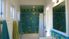 deco salle de bain en vert et turquoise