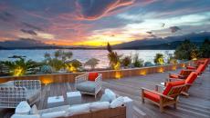 vue coucher de soleil mer vacances en corse ambiance design luxe